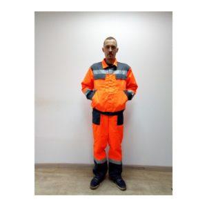 Костюм ДОРОЖНИК (оранжевый с тем.серым)